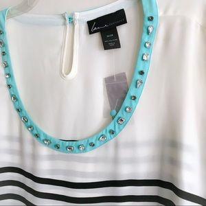Lane Bryant Tops - Embellished Neck Stripe Top